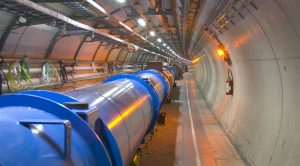 The first magnets have been installed in the LHC tunnel but are yet to be connected. Technicians must inspect the magnets before the connections are made. /CERN Photo